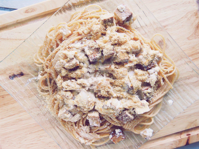 Spaghettis à la carbonara Végan